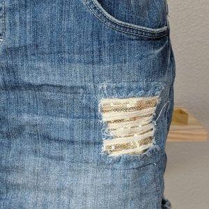 Elle Skirts - Elle distressed denim jean mini skirt